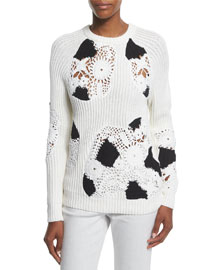 Ribbed Crewneck Sweater w/Crocheted Insets, White/Black