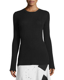 Ribbed Bell-Sleeve Sweater