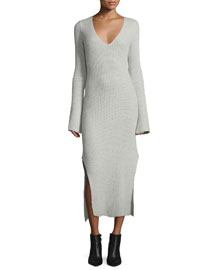 Long Ribbed Cashmere Tunic Dress, Gray