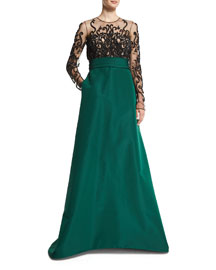 Long-Sleeve Illusion Filigree-Embroidered Gown, Emerald