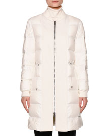 Long Waterproof Down Bomber Jacket, Warm White
