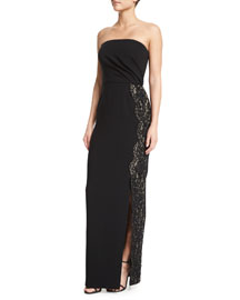 Strapless Cady Crepe Gown w/Lace Trim, Black