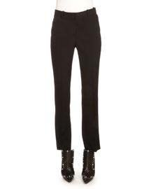 Classic Boot-Cut Wool Pants, Black