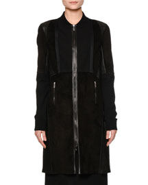 Long Leather Bomber Coat, Black
