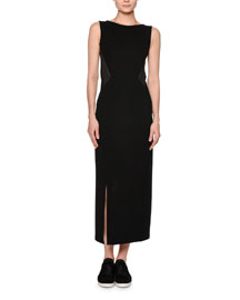 Sleeveless Jersey Maxi Dress, Black/Gray