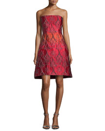 Strapless Jacquard Party Dress, Fantasy Print Red