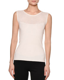 Multi-Rib Crewneck Sleeveless Sweater, White