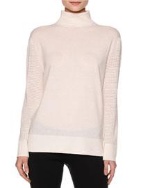 Turtleneck Sweater w/Mesh-Knit Sleeves, Warm White