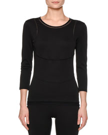 Performance 3/4-Sleeve Top, Black