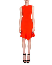 Sleeveless Handkerchief-Hem Sheath Dress, Bright Orange