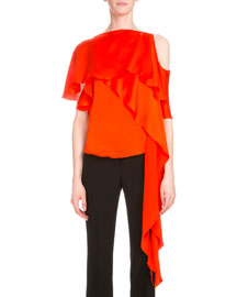 Satin Cold-Shoulder Top w/Cascading Ruffle, Orange