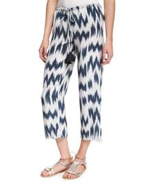 Goa Printed Silk Pants, Navy