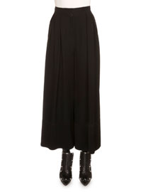 Pleated Crepe Wide-Leg Pants, Black