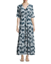 Kalila Printed Silk Maxi Dress, Navy
