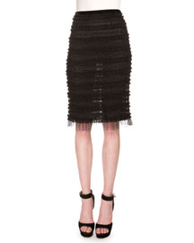 Micro-Ruffle Embroidered Pencil Skirt, Black