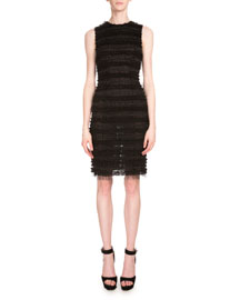 Sleeveless Ruffled Tulle Pencil Dress, Black