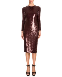 Long-Sleeve Embellished Sheath Dress, Burgundy