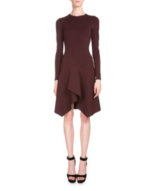 Long-Sleeve Crepe Jersey Handkerchief Dress, Burgundy