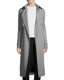 Houndstooth Trench Coat w/Grommet Flap, Navy/Off White