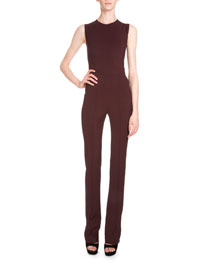 Sleeveless Crepe Jersey Jumpsuit, Burgundy