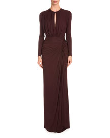 Long-Sleeve Ruched-Jersey Gown, Burgundy