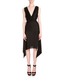 Pleated Jersey Sleeveless V-Neck Dress, Black