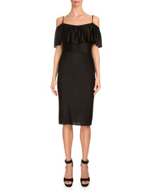 Off-The-Shoulder Ruffle Sheath Dress, Black