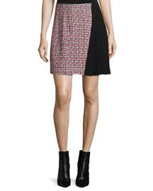Houndstooth Combo Mini Skirt, Red/Black/White