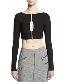 Long-Sleeve Hook-Front Crop Top, Black