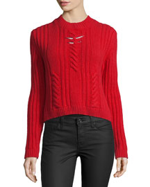 Cable-Knit Sweater w/Metallic Bar Details, Red