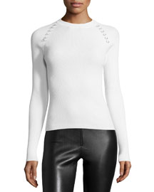 Ribbed Long-Sleeve Sweater w/Grommets, Off White