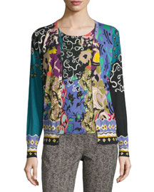 Patchwork Printed Silk/Cashmere Cardigan, Green