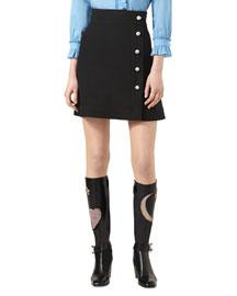 Wool-Silk High-Waist Skirt, Black