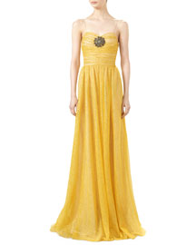 Iridescent Glitter Tulle Gown with Jeweled Patch, Tulip Yellow