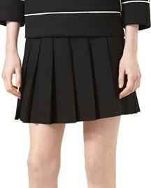 Pleated Wool Skirt, Black