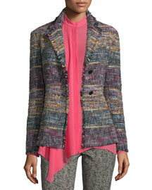 Fringed Tweed Two-Button Jacket, Black/Multi