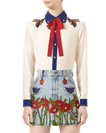 Embroidered Silk Shirt, Alabaster/Red/Blue