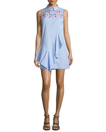 Embroidered Asymmetric Sleeveless Shirtdress, Sky Blue