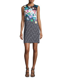 Sleeveless Mixed-Print Shift Dress, Black/Multi