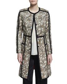 Long-Sleeve Floral-Print Topper Coat, Beige