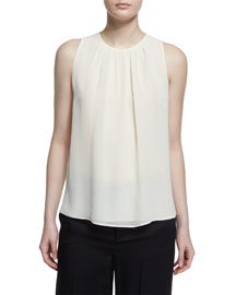 Sleeveless Pleated Georgette Top, White