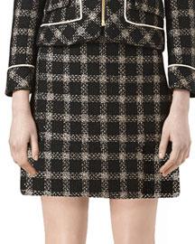 Lurex� Tweed Skirt, Black/Pink