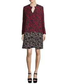 Long-Sleeve Floral-Print Topper Coat, Black/Red