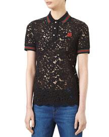 Lace Short-Sleeve Top, Black/Multicolor