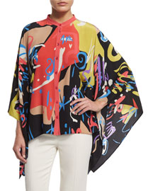 Patchwork Graffiti-Print Button-Front Poncho Blouse, Black
