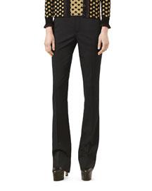 Wool Skinny Flare Pants, Black