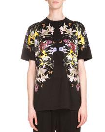 Short-Sleeve Floral-Print Tee, Black