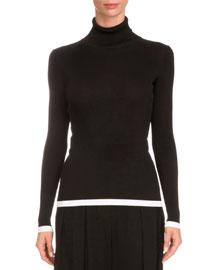 Tipped Rib-Knit Turtleneck Sweater, Black