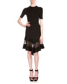Knit Half-Sleeve Dress w/Chiffon Panel, Black