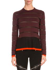Long-Sleeve Wool-Striped Sweater, Black/Multi